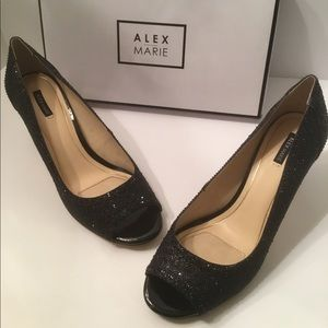 Alex Marie black open toe evening heels 10M